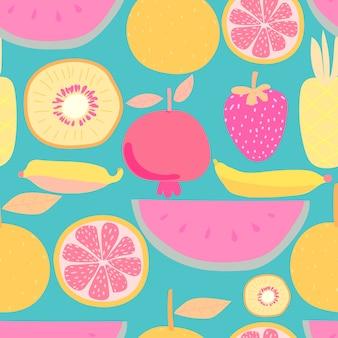 フルーツとのシームレスなパターン。ギフト包装デザインのベクトルイラスト。