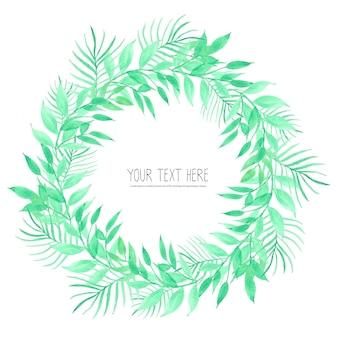 Листья акварель круг кадр, минималистичный кадр с листьями акварель.