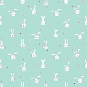 素敵なウサギ、子供のためのかわいいウサギのアートとのシームレスなパターン
