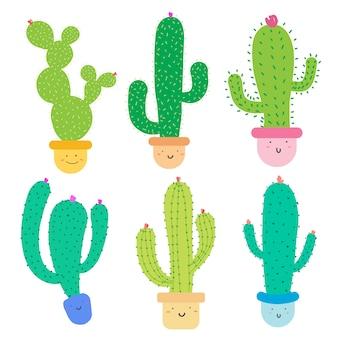 Симпатичный кактус с счастливыми лицами в горшках