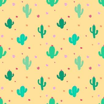 かわいいシームレスなサボテンパターン背景