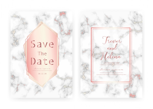 大理石の結婚式の招待カードテンプレート、日付の結婚式のカード、大理石の質感を持つモダンなカードデザインを保存します。