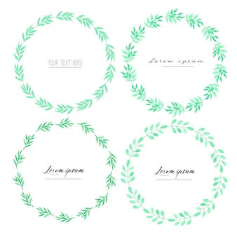 Листья акварель круг кадр, минималистичный вектор рамка с листьями акварель, ботаническая композиция