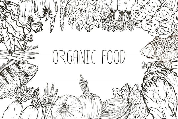 手描きの有機食品の背景。有機ハーブ、スパイス、シーフード。健康食品図面は、メニューデザインの要素を設定します。ベクトルイラスト