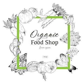 手描き有機食品バナー。有機ハーブとスパイス。健康食品図面の販売。ベクトルイラスト