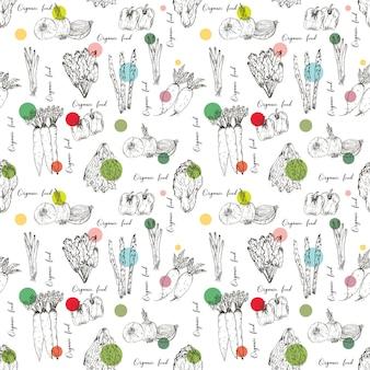 手でシームレスパターンには、野菜の背景が描かれています。有機ハーブやスパイス、健康食品図面パターンベクトル図です。