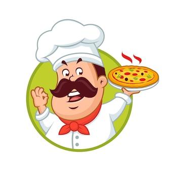 ピザマスコットデザインを保持している幸せなシェフ