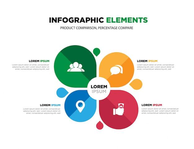 ビジネスデータの視覚化。プロセスチャート、インフォグラフィックのクリエイティブコンセプト。