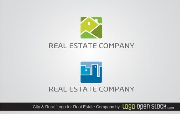 ロゴ緑と青の建物の不動産会社