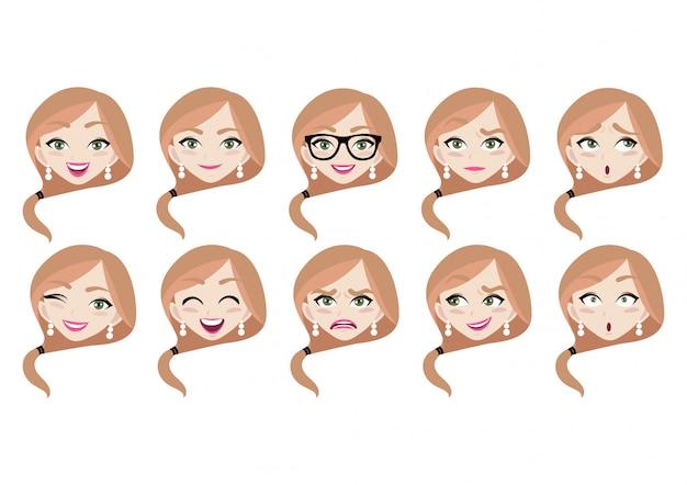 女性の顔とさまざまな感情のセット