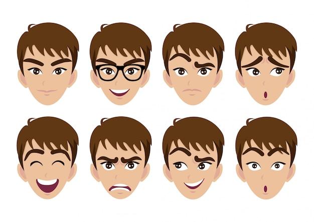 男の顔とさまざまな感情のセット
