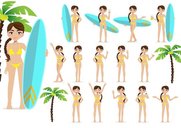 Летний сезон отдыха. мультипликационный персонаж на пляже, люди и деятельность дизайн вектор
