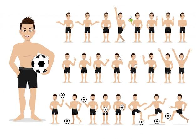 夏季休暇。ビーチでの漫画のキャラクター。水泳パンツと活動デザインベクトルを持つハンサムな男