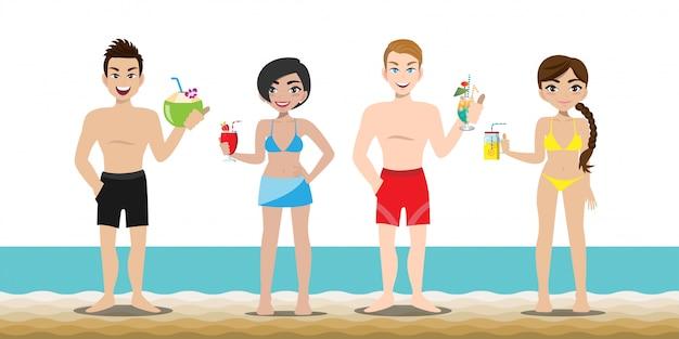 ハンサムな男ときれいな女性はビーチで活動しています。