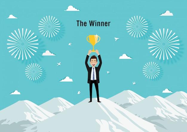Бизнесмен холдинг трофей. бизнес-концепция мультипликационный персонаж