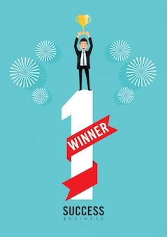 Бизнесмен холдинг трофей. успех бизнес-концепция мультипликационный персонаж