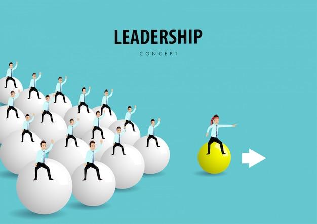 目標に向かってプラスチック製のボールに乗って人々とチームの漫画のキャラクター。リーダーシップの概念