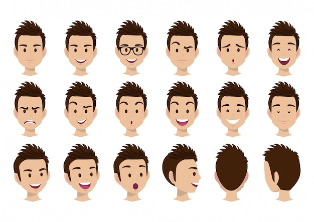 男の頭のベクトルを持つ漫画のキャラクターを設定します。正面、側面、背面図。平面ベクトル