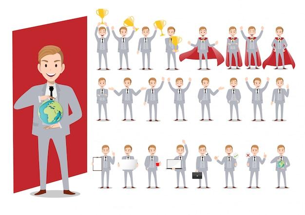 Набор персонажей мультфильма бизнесмена вектора