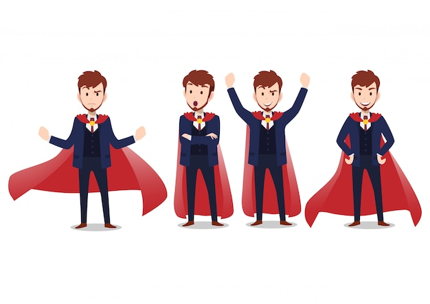 Бизнесмен мультипликационный персонаж, набор из четырех позах