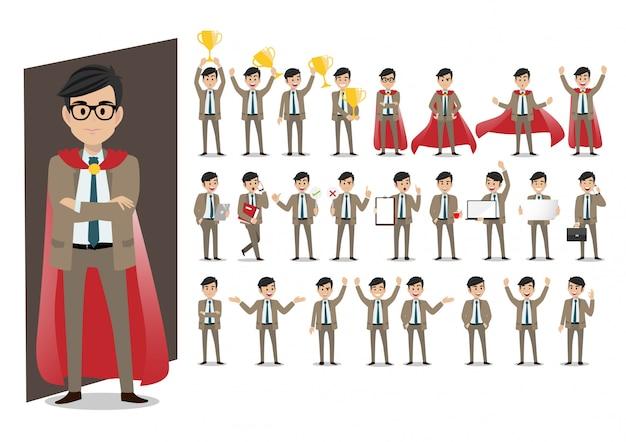Набор персонажей мультфильма бизнесмена