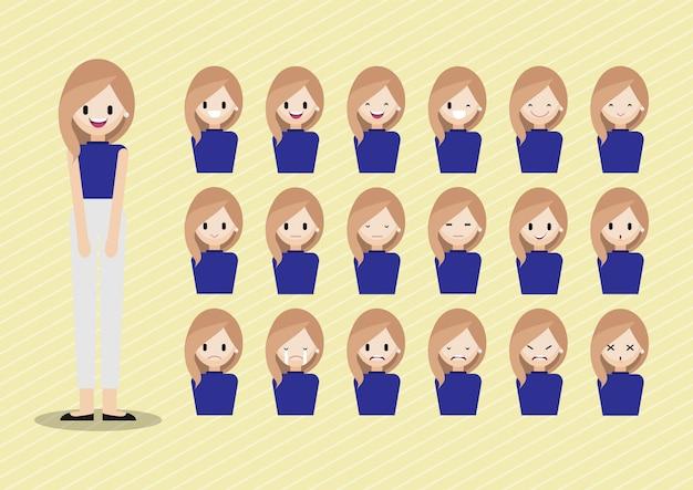 少女の頭を持つ漫画のキャラクターセット
