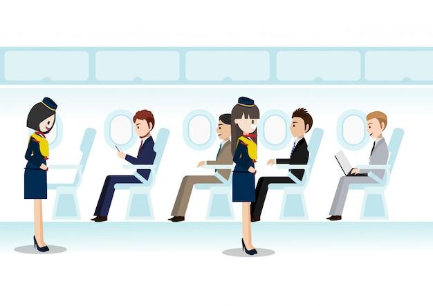 ビジネスクラスの部屋のジェット旅客機と座席飛行の美しいエアホステスの漫画のキャラクター
