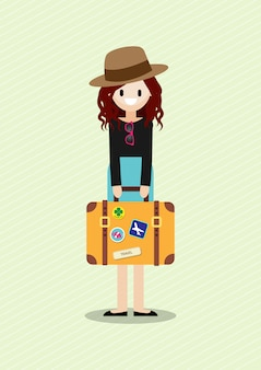 Мультипликационный персонаж с милой леди красивого туриста