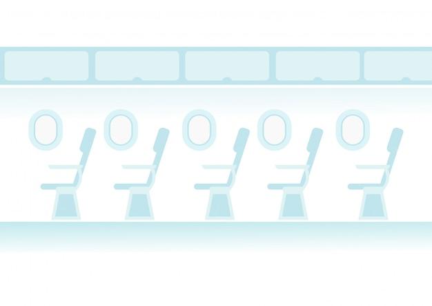 Карикатура реактивного пассажира в полете. линия сидений для самолетов в салоне.