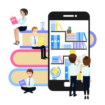 Набор книг в онлайн-библиотеке на ноутбуке и деловых людей группы.