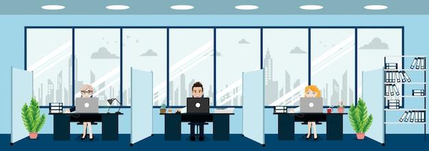 ビジネスマン、上司と従業員のいるモダンなオフィスのインテリア。クリエイティブオフィスのワークスペースと漫画のキャラクターのスタイル。