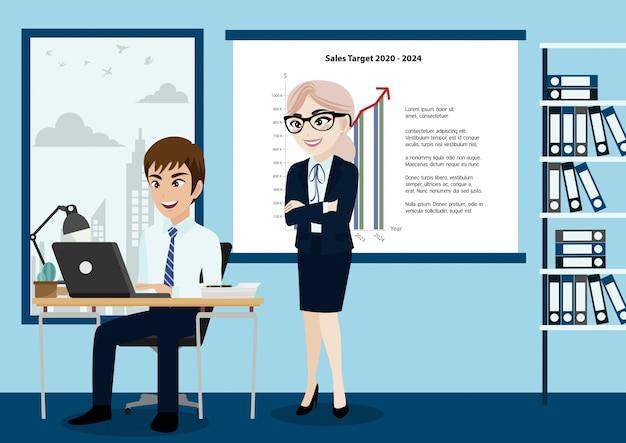 ビジネス人々のグループ、上司、スタッフ、または漫画のキャラクターのスタイルでオフィスのバックグラウンドで労働者。
