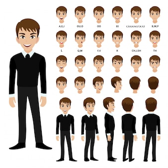 アニメのスーツのビジネスマンと漫画のキャラクター。