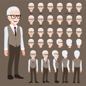 Мультипликационный персонаж с деловой человек в костюме для анимации.