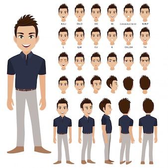 アニメーションのカジュアルな服装でのビジネスの男性と漫画のキャラクター。