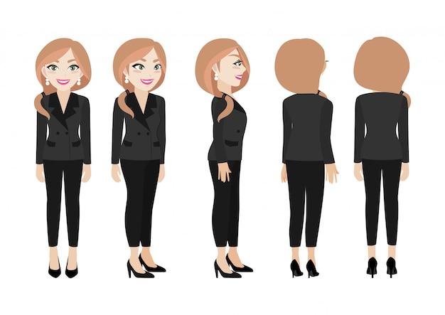 Мультипликационный персонаж с деловой женщиной.