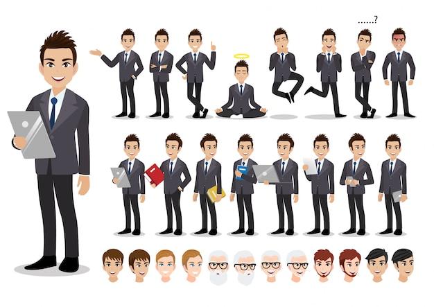 実業家漫画のキャラクターセット。オフィススタイルのスマートスーツでハンサムな実業家。