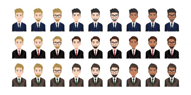 Бизнесмен мультфильм характер головы набор. красивый деловой человек в офисном стиле