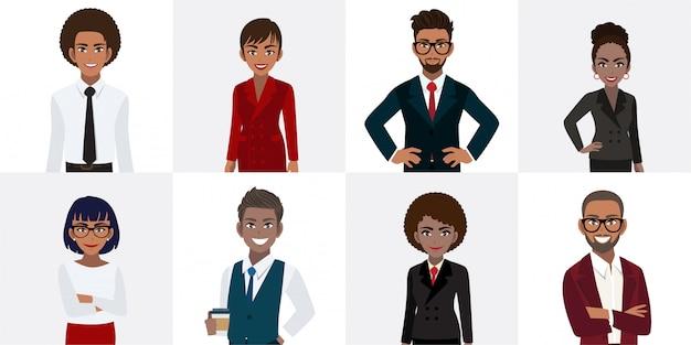 オフィススタイルのアフリカ系アメリカ人ビジネス人々の漫画のキャラクターのグループ