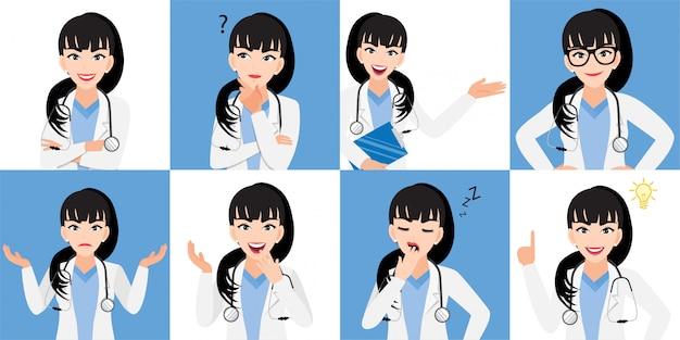 Женский доктор мультфильм набор символов