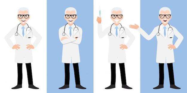 Мужской доктор мультфильм набор символов