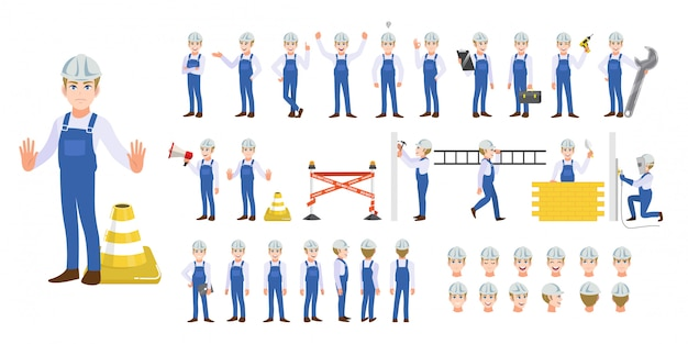 建物の建設労働者の漫画のキャラクターセット