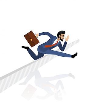 矢印記号を飛び越えて実業家漫画のキャラクターとレースコンセプト