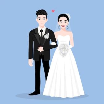 結婚式の日に愛のカップル