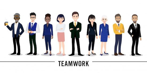 白い背景の上のビジネスマンやビジネスウーマンの漫画のキャラクター