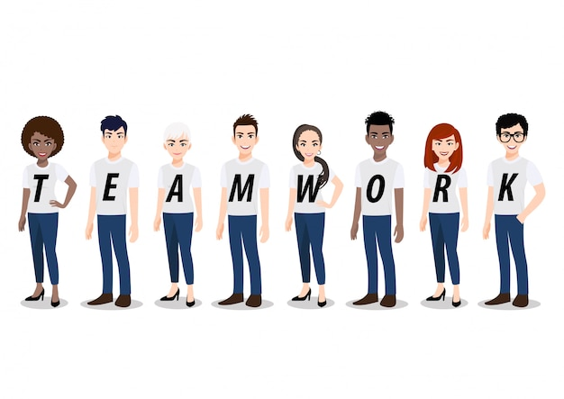 チームワークの概念と漫画のキャラクター