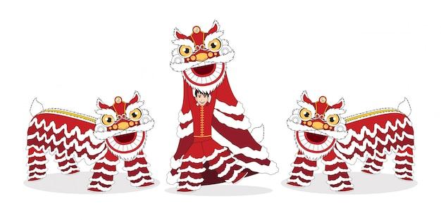 白い背景の上の漫画キャラクターデザインで分離された中国の旧正月ライオンダンスの戦い