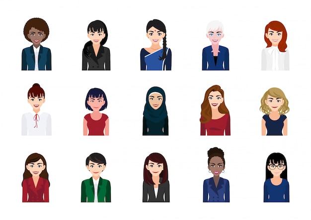 Набор сбора портрета персонажа из мультфильма деловой женщины. красивая деловая женщина в офисном стиле