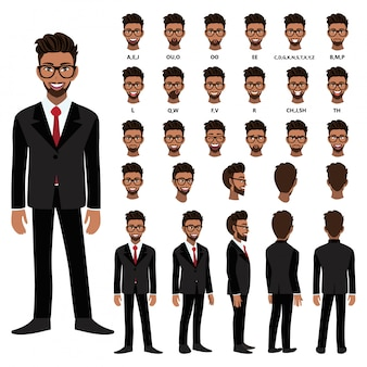 Мультипликационный персонаж с афро-американский деловой человек в костюме для анимации. спереди, сбоку, сзади, несколько вид персонажа. отдельные части тела. плоские векторные иллюстрации