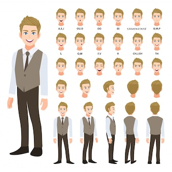 Мультипликационный персонаж с деловой человек в смарт-рубашку и жилет для анимации. спереди, сбоку, сзади, несколько вид персонажа. отдельные части тела. плоские векторные иллюстрации
